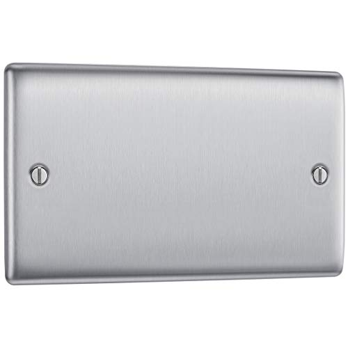 BG Electrical NBS95-01 Single Blank Plate, Brushed Steel
