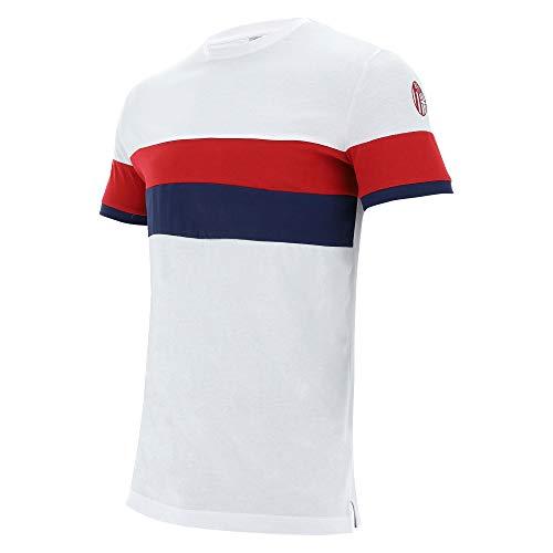 Macron Bfc Merch Ca - Camiseta Cottonpoly BIA/Ros/Nav SR, algodón Bolonia FC 2020/21 para Hombre, Azul, L