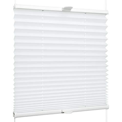 SchattenFreude Klemmfix-Plissee für Fenster | Mit Klemm-Haltern | Ohne Bohren | Reinweiß, Breite: 30cm x Höhe: 150cm