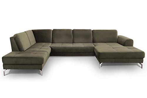 CAVADORE Wohnlandschaft Benda / Große Sofagarnitur mit XL-Longchair rechts & Federkern / Inkl. Sitztiefenverstellung / 332 x 87 x 226 / Samt: grün