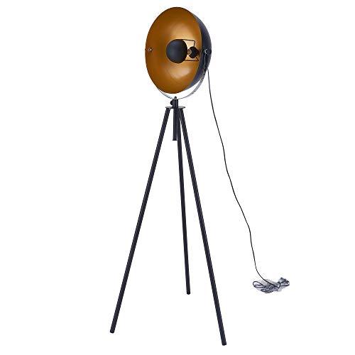Sit Möbel This & That staande lamp metaal L = 58 x B = 58 x H = 167 cm zwart, scherm binnen koperkleurig