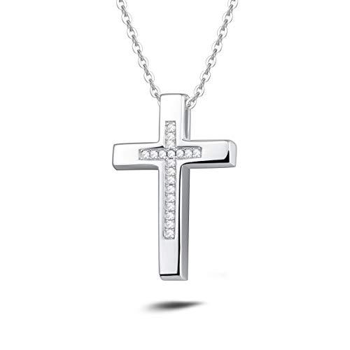 Damen Halskette mit Kreuz Christian Anhänger aus 925 Sterling Silber mit Zirconia - Verstellbar Kettenlänge: 40 + 5 cm