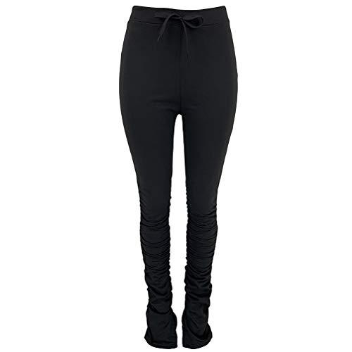 BESPORTBLE Yogahosen mit Hoher Taille Fackel Kordelzug Faltpilat Pilates Hose Bauch Kontrolle Training Laufen Sporthose für Frauen - Größe XL