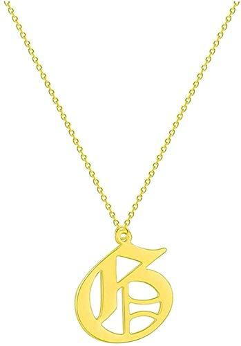 DUEJJH Co.,ltd Collar A - Z Letra Inicial Mujeres Hombres Collar Acero Inoxidable Joyería de Metal Gargantilla de Cadena Vintage Collar Colgante