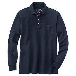 [セシール] ポロシャツ ディリーポロシャツ 綿100% 長袖 多サイズ 胸ポケット付き JK-274 メンズ ダークネイビー L