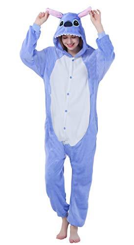 FunnyCos Unisex-Schlafanzug für Erwachsene, Einteiler, Cosplay-Kostüm Gr. M(Höjd 158/167 cm), Blau, Stitch