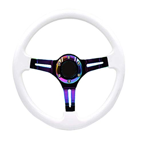 Universal 14 inch Car Racing Steering Wheel Drifting Neo Chrome Deep Dish ABS Steering Wheel with Horn (White)
