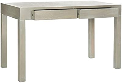 Wood Desk with Drawers - Rectangular Writing Desk with Finished Back - Ash Gray