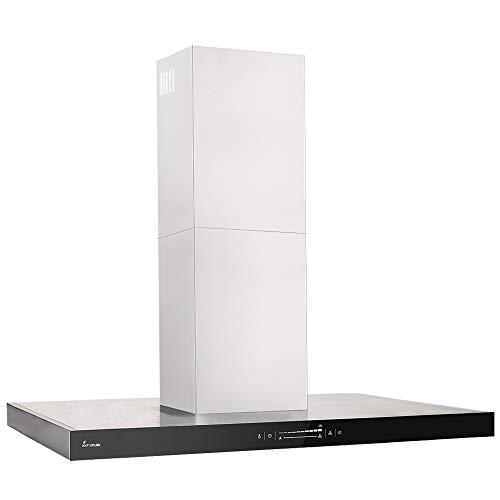 KKT KOLBE Dunstabzugshaube/Inselhaube (90cm / Edelstahl/schwarzes Glas/Extra-leise/WIFI / 10 Stufen/LED-Beleuchtung/TouchSelect Sensortasten) FLAT-INSEL-5