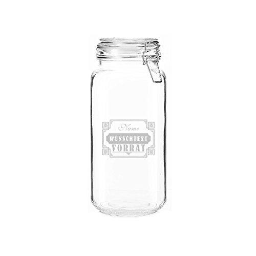 Herz & Heim® 2 Liter Vorratsdose Glas - Vorrat - mit gratis Gravur - Name und Inhaltsaufschrift