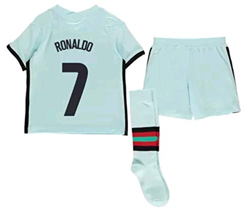 LISIMKEM 2020-2021 Kids/Youths Away Soccer Jersey/Short/Socks Colour White (Portugal Ronaldo #7(11-13years/size28))