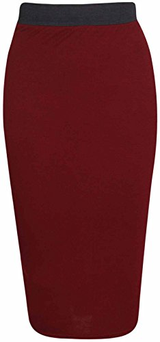 Momo&Ayat Fashions Dames Jersey Midi Potlood Stretch Midi Bodycon Rok UK Maat 8-26