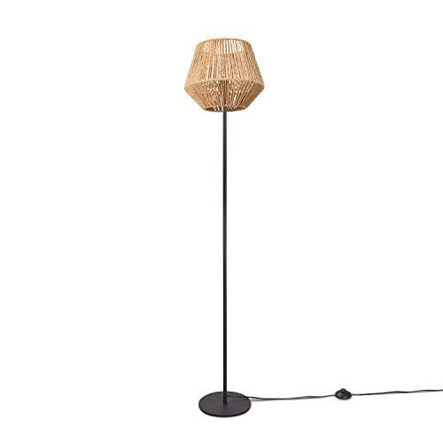 Paco Home LED Stehlampe Modern Wohnzimmer Schlafzimmer Rattan Optik Boho Korb Stehleuchte E27, Lampenfuß:Einbeinig Schwarz + Leuchtmittel, Lampenschirm:Natur (Ø33 cm)