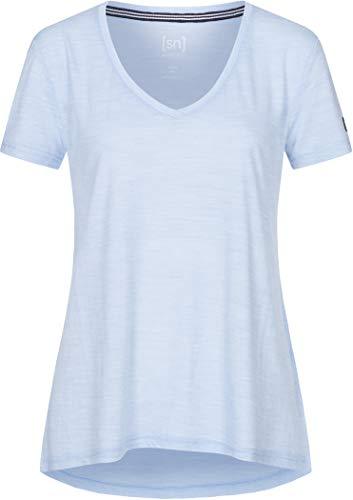 super.natural W Travel Tee T-Shirt à Manches Courtes. Femme, Skyway mélangé, s