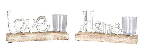 levandeo 2er Set Teelichthalter 22x11cm Love Home Mango Holz Windlicht Glas Deko Kerzenhalter Romantik Kerzenschein