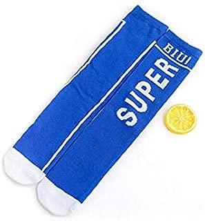Lovely Socks Children Cotton Socks Kids Spring and Summer Letter Patterns Mid Tube Socks(White) Newborn Sock (Color : Blue)