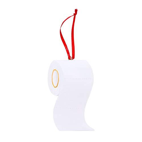 EXCEART Rollo de Papel Higiénico Adorno Navideño Resina Árbol de Navidad Colgantes Personalizados Adorno Navideño Decoración (Blanco)