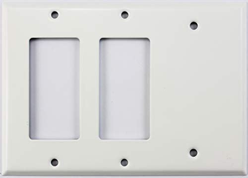 Smooth White 3 Gang Combo Wall Plate - 2 GFCI/Rocker Openings 1 Blank