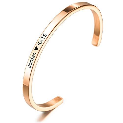 MeMeDIY Personalisierte Armband Gravur Name Identifizierung ID Angepasst für Männer Frauen Mädchen Jungen Wasserdicht Edelstahl Einstellbare Stulpearmband (4mm Breite, Roségold Farbe)