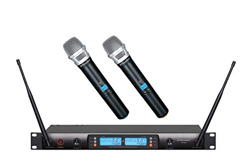 GTD Audio 2x100 Adjustable Channels UHF Wireless Cordless Handheld Microphone Mic System Ideal for Church, Karaoke, Dj Party, Range 400 ft,