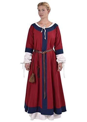 Battle-Merchant Mittelalter Kleid Gudrun lang für Damen aus Baumwolle Mittelalter Kleidung Wikinger LARP Mittelalterkleid, M, Rot/Blau