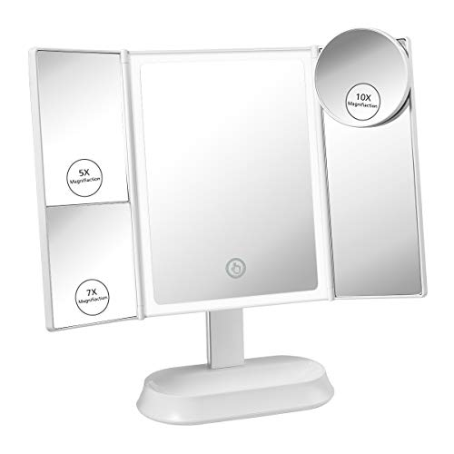 Glam Hobby Makeup Vanity Mirror with Lights, Trifold Mirror with Touch Screen Dimming - 1x 5X 7X Magnification, with Detachable 10X Magnification, Portable Cosmetic Lighted Makeup Mirror (White)