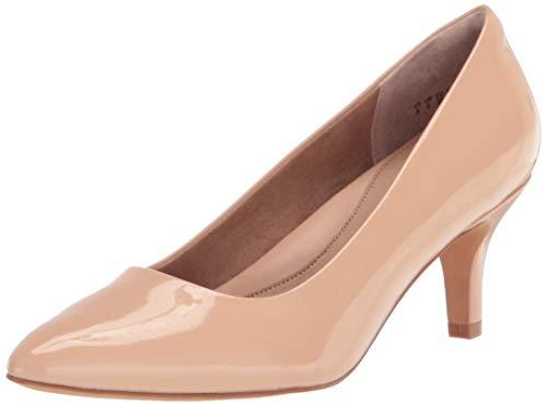 Amazon Essentials Women's Round Toe Medium Heel Pump, Blush Patent, 8 B US