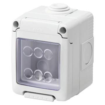 Gewiss - Caja para aparatos con sistema de 2 plazas, estaño, gris, RAL 7035, IP55, GW27042