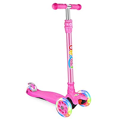 BELEEV Kick Scooter for Kids, 3 Wheel Scooter for Toddlers Girls Boys, 3 Adjustable Height(Pink)