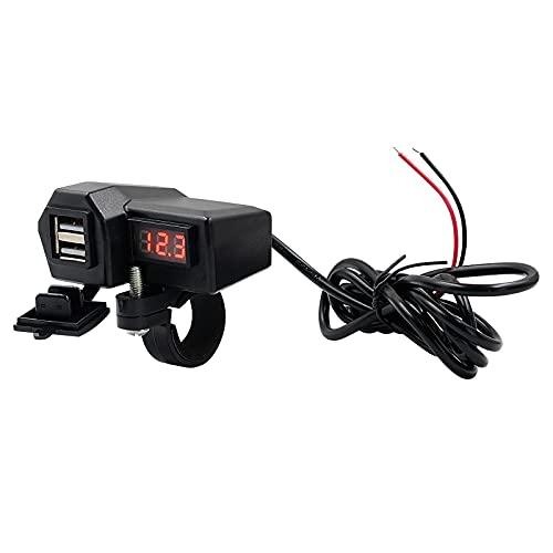 LXSTARS Cargador rápido de teléfono Impermeable para Motocicleta con Pantalla de Voltaje Adaptador de Cargador de Motocicleta con 2 Puertos USB Apto para Motocicleta al Aire Libre