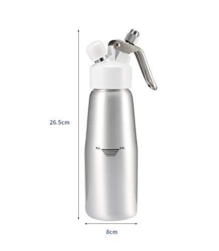Genex Sahnespender Lachgas 500ml Creme Whipper Dispenser mit 3 Düsen und Reinigungsbürste Aluminiumlegierung Creme Schaum Maker Kochen Taschenlampen Milch Frothers /6 Silber