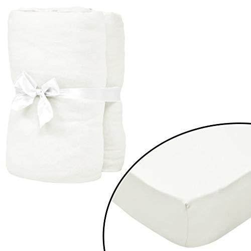Geniet van winkelen met Hoeslaken waterbed 1,8x2 m katoen jersey stof gebroken wit 2 st