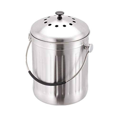 Best Buy! Hong Tai Yang Kitchen Stainless Steel Compost Bin for Kitchen Countertop Compost Bucket Ki...