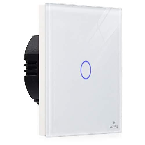 Navaris Interruttore luce casa touch - con pannello in vetro antigraffio - Interruttore touch screen parete per lampade indicatore LED 240V - bianco