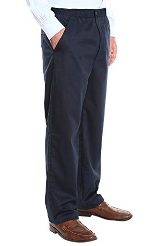 Pembrook Men's Elastic Waist Casual Pants Twill Pants with Zipper and Button - L - Navy