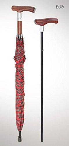 Paraplu Safebrella DUO wandelstok paraplu große Ausführung rood