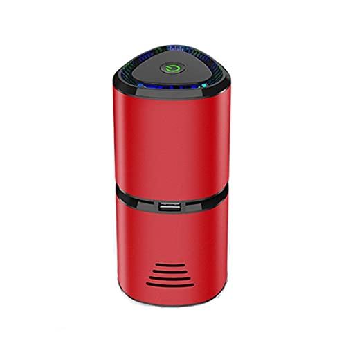 GZA Purificador De Aire con Salida De Turbina De Iones Negativos Ventilador De Espiral Dual USB Aromaterapia Limpiador De Aire para La Oficina En Casa del Automóvil (Color : Red)