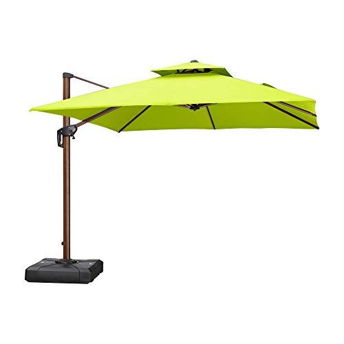 PURPLE LEAF 10 Feet Double Top Deluxe Wood Pattern Square Patio Umbrella Offset Hanging Umbrella Outdoor Market Umbrella Garden Umbrella, Lime Green