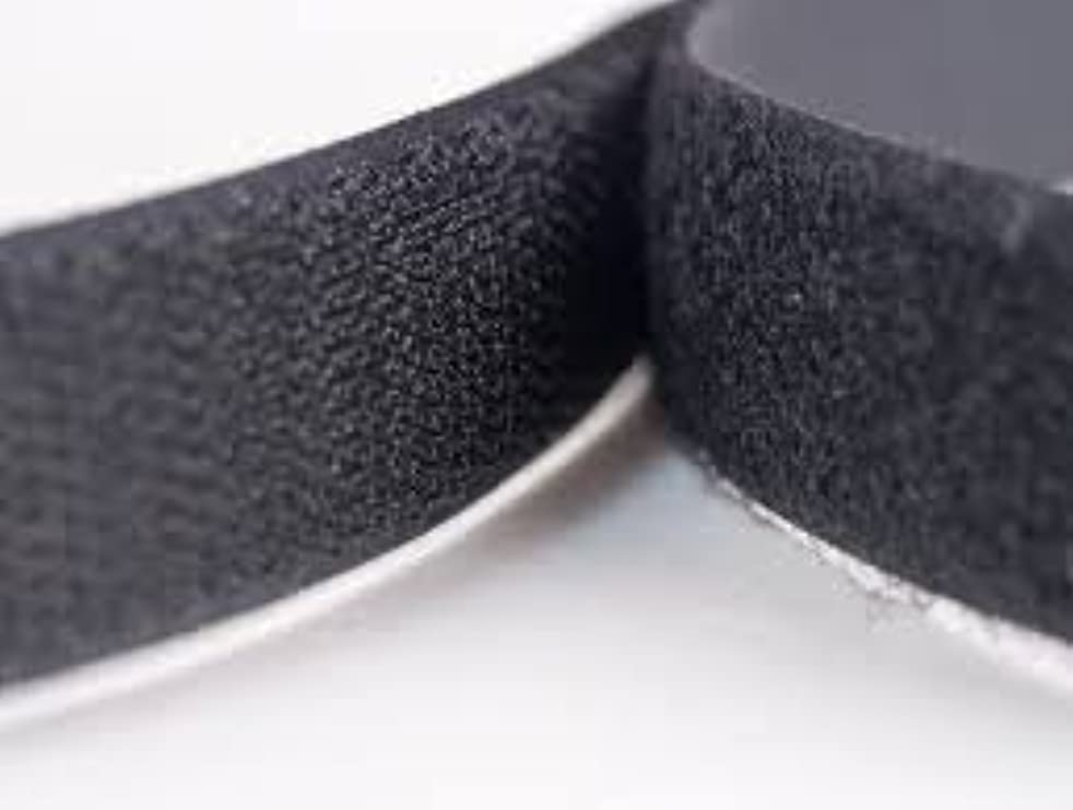 Hook and loop tape, black, no adhesive backing (1.5