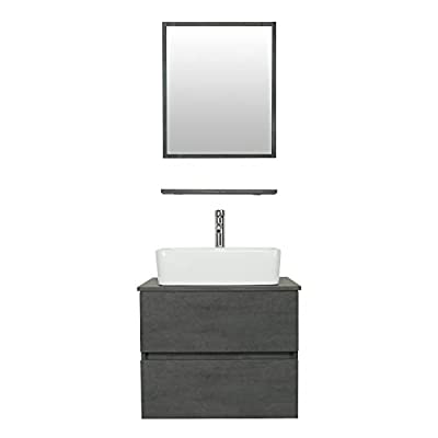 "eclife 24"" Bathroom Vanity Sink Combo Wall Mounted Concrete Grey Cabinet Two Drawers Vanity Set White Ceramic Vessel Sink Top, W/Chrome Faucet, Pop Up Drain & Mirror (T03E02CC)"
