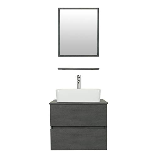 """eclife 24"""" Bathroom Vanity Sink Combo Wall Mounted Concrete Grey Cabinet Two Drawers Vanity Set White Ceramic Vessel Sink Top, W/Chrome Faucet, Pop Up Drain & Mirror (T03E02CC)"""