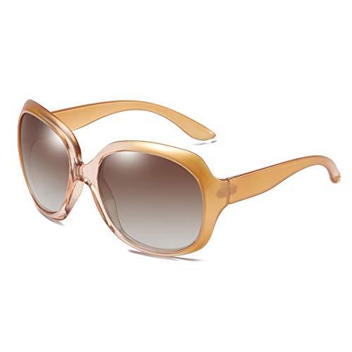 GUANGE Gafas de sol para mujer, de gran tamaño, polarizadas, protección UV400, gafas de sol para mujer, de gran tamaño, de moda, para conducir, regalos para damas, champán