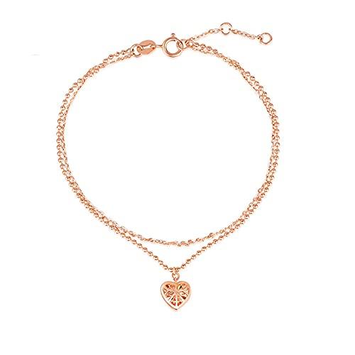 Oro Rosa De 18 Kilates Amor Corazón Pulsera Mujer Joyería Accesorios Moda (Dorado)