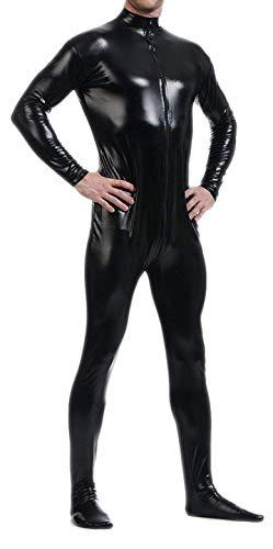 Seeksmile Unisex Metallic Lycra Bodysuit Zentai Without Hood (XX-Large, Black)