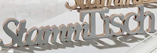 G.H. Grosser Vintage Holzschriftzug als Aufsteller, Modell: Stammtisch, Material Holz, Maße 50 x 9 cm, Farbe grau, ideal für Gasthaus, Garten, Terrasse, Bar, Cafe, Cafeteria oder einfach Zuhause.