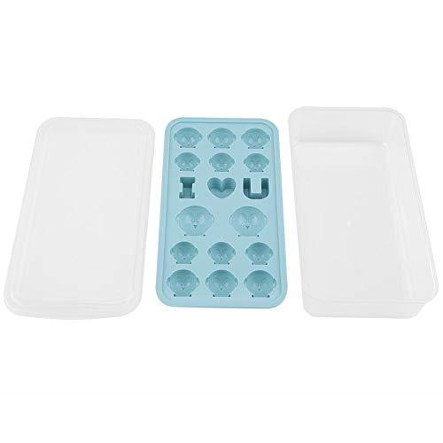 Eiswürfelschale, Niunion Langlebige Silikon-Eiswürfelschale mit Deckel Küche DIY Fruchtmilch Shake Maker Form(Blau)