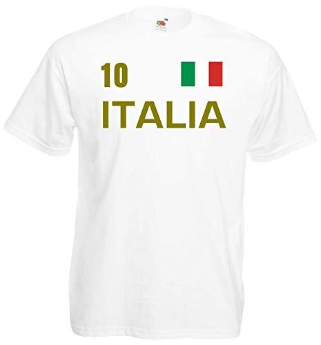 World of Shirt Herren T-Shirt Italien-Italy im Trikot Look