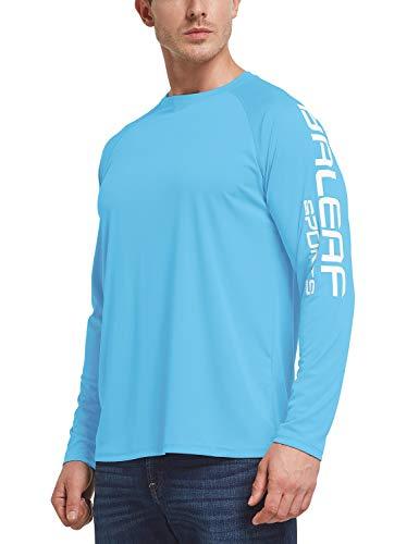BALEAF Men's Long Sleeve Fishing Shirts UPF 50+ UV Lightweight Quick Dry Shirt for Hiking Running Blue Size S