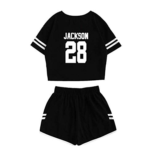 mainlead Kpop GOT7 Bambam Jackson Mark Yugyeom T-Shirt+ Running Shorts Two Piece Suit(M, Black, Jackson)