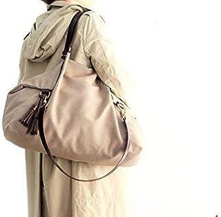 Borsa a spalla, borsa a tracolla, Borsa in tela e cuoio, tessuto idrorepellente e cuoio italiano, color marrone/oliva - Su...